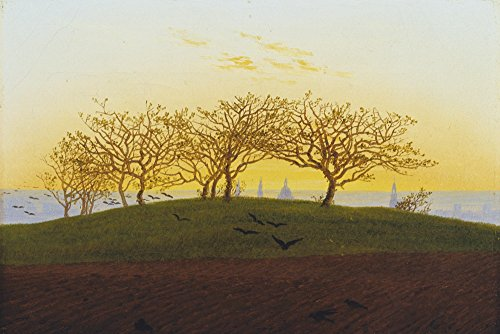 Artland Alte Meister selbstklebendes Wandbild Caspar David Friedrich Hügel mit Bruchacker bei Dresden Wandtattoo Art 60 x 90 cm Kunstdruck Gemälde Romantik R0JR