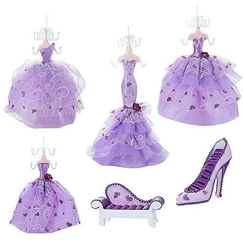 ZQJKL Juego De 6 Vestido De Princesa Morado Soporte De Exhibición De Joyería para Collares Pendientes Colgantes Pulseras Tacón Alto Estante De Almacenamiento De Joyas Regalo para Mujer Niña