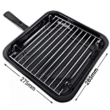 SPARES2GO Small Square Universal Grill Pan, Rack & Detachable Handle for Oven Cookers