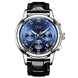 LIGE Montre Homme Quartz Analogique étanche Horloge Classique Bracelet en Cuir Noir...