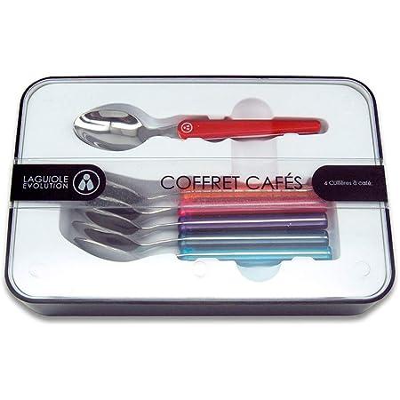 Laguiole Évolution® - Coffret de 6 cuillères à café en acier inoxydable - Petites cuillères manche en ABS couleurs panachées multicolores - Set de couverts de table
