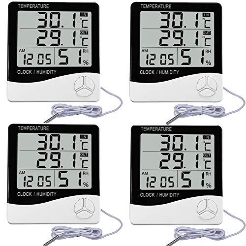 ThreeH, Paquete de 4, Monitor de Temperatura y Humedad, termómetro Digital para Interiores y Exteriores, higrómetro para medir la pecera doméstica en Grados Fahrenheit/Celsius