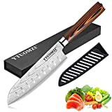 Santoku Knife with Sheath, 7 Inch Japanese Classic Kitchen Knife German High Carbon Stainless Steel Chef's Knife for Home and Restaurant (7-inch Santoku Knife)