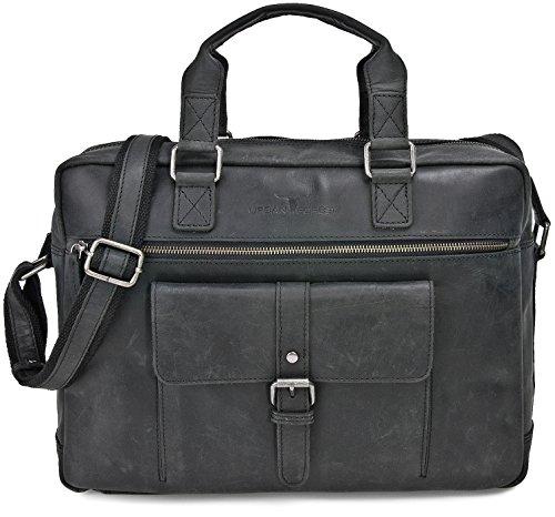 Robuste Aktentasche aus Leder Lehrertasche Leder mit Laptopfach bis 15 Zoll DIN A4 Laptoptasche Damen aus Leder Notebooktasche Herren Leder Ledertasche von URBAN FOREST FarbeSchwarz