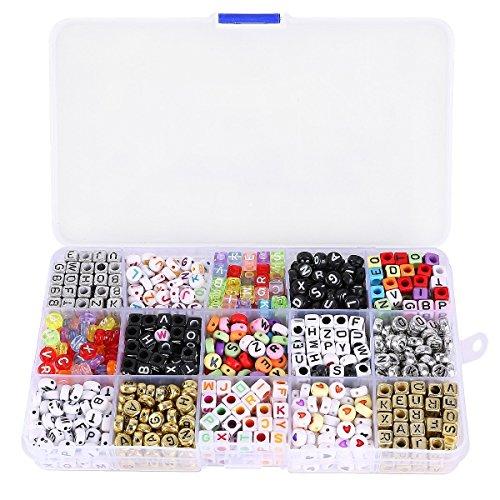 ULTNICE 1100 Stück Buchstaben Perlen Set für DIY Bands Armbänder