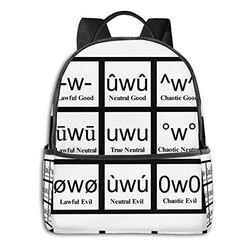 IUBBKI Mochila lateral negra Mochilas informales The Alignment System-Uwu Student School Bag School Cycling Leisure Travel Camping Outdoor Backpack