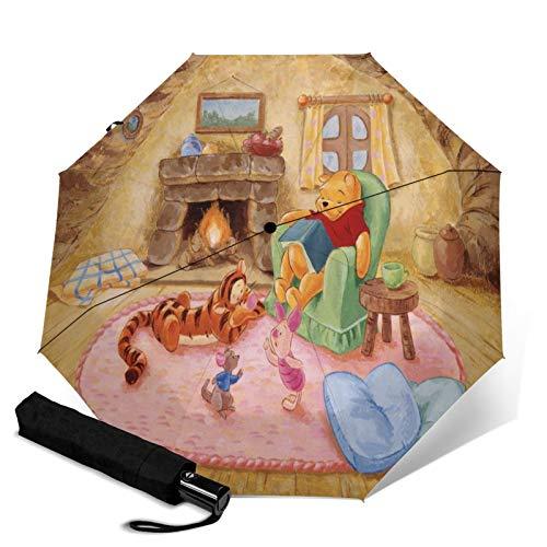 Kompakter Trifold Travel Anti-Uv-Regenschirm Mit Automatischem Öffnen/Schließen, Winddichter, Faltbarer, Leichter Sonnenschirm Im Freien, Disney Winnie Pooh Kamin