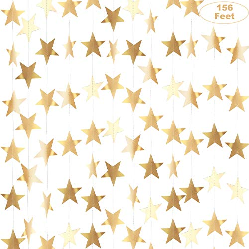 Gold Star Garland Banner Decorations - 156 Feet Bright Gold Paper Garland Hanging Decorations, Glitter Gold Star Bunting Banner for Wedding, Birthday, Holiday, Christmas Party
