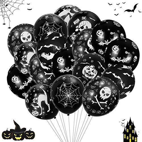 TaimeiMao Halloween Deko Set,60 Halloween Luftballons, Halloween Dekoration Ballons,Halloween Girlande,Halloween Latex Luftballons,Halloween Ballons,Latexballon,Folienballon (Schwarz)