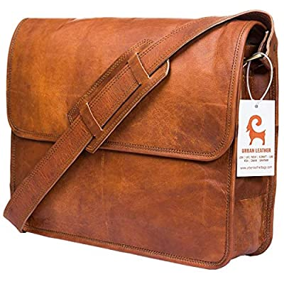 Leather Messenger Bags for Men & Women New Job Gifts for Teen Boys Laptop Shoulder Bag Office Work Executives Briefcase Cross body Fit - Flap Over Vintage Brown Satchel Bag Size 15 inch by Urban Leather Bags