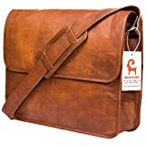 Urban Leather Handmade Laptop <span class='highlight'>Messenger</span> Bag Executive Business Office Work Bag Pure Leather Shoulder Bag Flap-Over Cabin Bag With Shock Proof Macbook Padding for Men Women Boys Girls, Size 15 inch