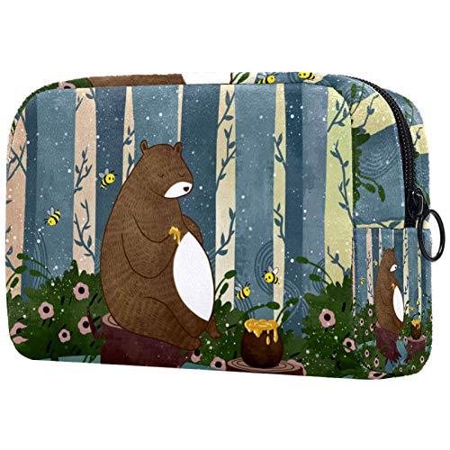 ATOMO Bolsa de maquillaje, bolsa de viaje de moda, neceser grande, organizador de maquillaje para mujeres, oso y miel