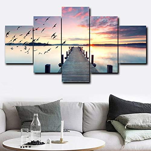 FKHLJ 5 Panel Sea Sunshine Poster en afdrukken canvas schilderij voor woonkamer Home Decoration Fotoalbum 15x20 15x30 15x40 CM Geen frame.