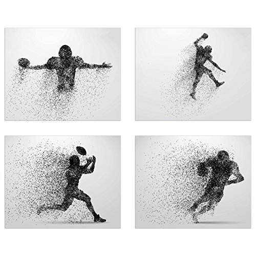 Football Wall Decor Art Prints - Particle Silhouette – Set of 4 (8x10) Poster Photos - Man Cave, Bedroom Decor