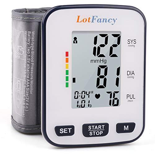 "Wrist Blood Pressure Monitor Cuff by LotFancy, 120 Reading Memory, BP Wrist Cuff (5.3""- 8.5""), Automatic Digital Blood Pressure Monitor with Large LCD Display, Portable Case Included"