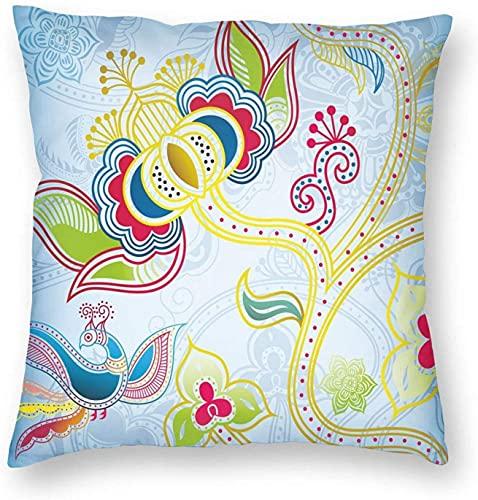 Tirar Fundas de Almohada, Colorido Floral Mucho Arte Oriental Motivos en Espiral de las Líneas de Puntos y el Ave Fénix Figura, la Plaza de Cojín de Sofá Casos Fundas de almohada 18 * 18 Pulgadas