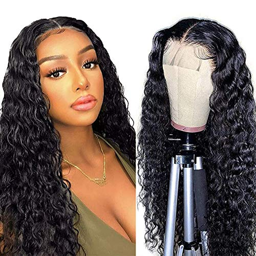 ISEE Water Wave 5x5 Transparent Lace Front Wigs for Black Women Brazilian Virgin Hair Water Wave Lace Closure Human Hair Wigs Pre Plucked with Baby Hair 20inch 5x5 Lace Closure Wig