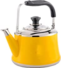 Home Cordless Stainless Steel Light Weight Whistling Kettle with Traditional/Retro Spout for Hob Or Stove Top,Yellow,2L