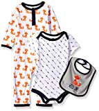 Hudson Baby Unisex Baby Cotton Coverall, Bodysuit and Bib Set, Wild One, 0-3 Months