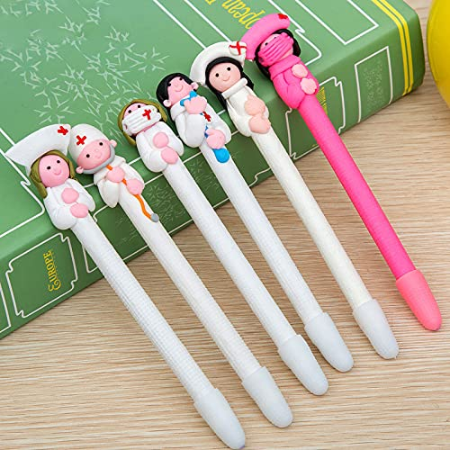 Weimay 20 Pack Cute Doctor Nurse Pens, 10 Designs - Novelty Ballpoint Pens Polymer Clay Pens 0.5mm Tip Black Ink for Nursing, Women Nurse Gift