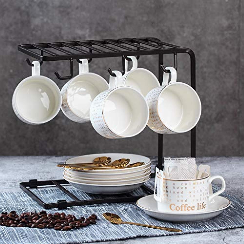 Ensemble de tasses à café européennes en céramique, tasses à thé, tasses à café en céramique, 6 tasses, 6 disques, 6 cuillères dorées + cadre en U