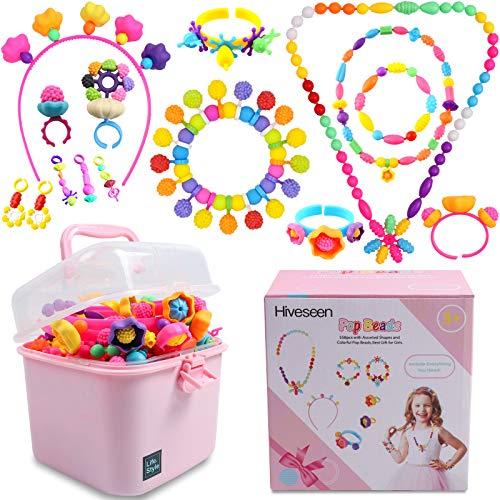 Hiveseen Pop Beads, Bricolaje Conjunto de Cuentas Niños con Pegatinas de Uñas, Hacer Pulsera, Collar, Anillo y Diadema, Kit de Fabricación de Joyas para Niños de 6 7 8 9 Años (555+ Pcs)