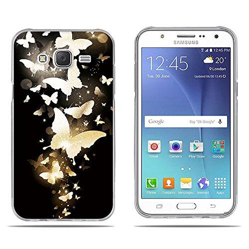 Fubaoda Samsung Galaxy J5 (J500F) Hülle,[Goldener Schmetterling] Anti-Dropping PC Handy-Tasche Back-Cover Ultra Slim Weich Silikon Transparent Designs Schutzhülle für Samsung Galaxy J5 (J500F)