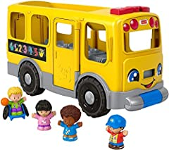 The iconic Little People school bus gets super-sized with a pull-handle that stores underneath Press the discovery buttons for music, sounds, lights and Smart Stages learning content Manually open the door, flip out the stop sign, and open the wheelc...