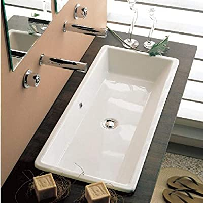 Scarabeo 8033-No Hole Gaia Rectangular Ceramic Self Rimming/Vessel Sink, White
