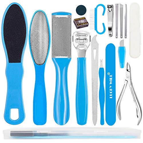 Lucky Will 16 in 1 Pedicure Set Kit Professional Foot Scrapper Pedicure Foot File for Hard Skin Foot Rasp Stainless Steel Callus Remover Kit for Women Men Home or Salon(Blue 16 PCS)