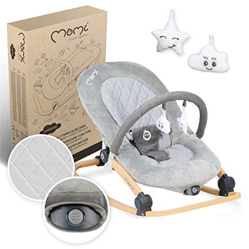 MOMI LUMIWOOD Babywippe für Babys bis 9 kg, weiche Polsterung, Holzgestell, Antirutsch-Füße, Haltegurt | Abmessungen 48x80x51cm | Sensorisches Modul, Blockade der Wippfunktion | Gray