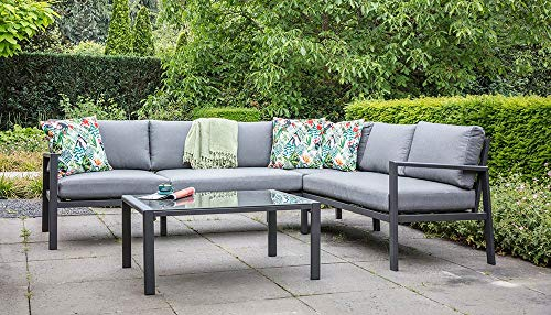 lifestyle4living Loungemöbel Set (Premium) aus Aluminium, Anthrazit, wetterfest, 2-teilig | Modernes Garten Lounge Set mit Aluminiumgestell für 4 Personen - 5
