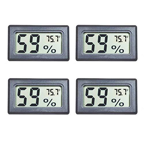 Veanic Lot de 4 Mini thermomètre/hygromètre/thermomètre/hygromètre/écran LCD Fahrenheit (°F) pour Cave à cigarde, Serre, Jardin, Cave, réfrigérateur, Placard