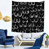 Tapestries Fashion Wall Hanging Cozy Indoor Tapestries for Bedroom Living Room Dorm Home Decorate Blanket 59 X 59 Inch Boob Feminine Feminist Black