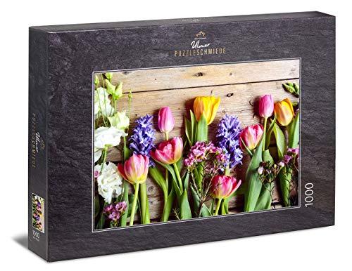 "Ulmer Puzzleschmiede - Puzzle ""Frühlingsboten""– Klassisches 1000 Teile Blumen-Puzzle – Vintage-Puzzlemotiv mit bunten Tulpen & Frühlingsblumen"