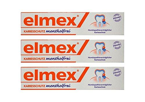 3x ELMEX mentholfrei Zahnpasta mit Faltschachtel 75ml PZN 04919378 Kariesschutz