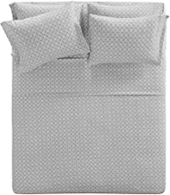 Comfort Spaces CS20-0332 Cotton Flannel Breathable Warm Deep Pocket Sheets With Pillow Case Bedding, King, Geo Grey