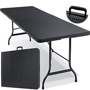 KESSER® Buffettisch Tisch klappbar Kunststoff 180x75 cm Rattan Optik Campingtisch Partytisch Klapptisch Gartentisch für…