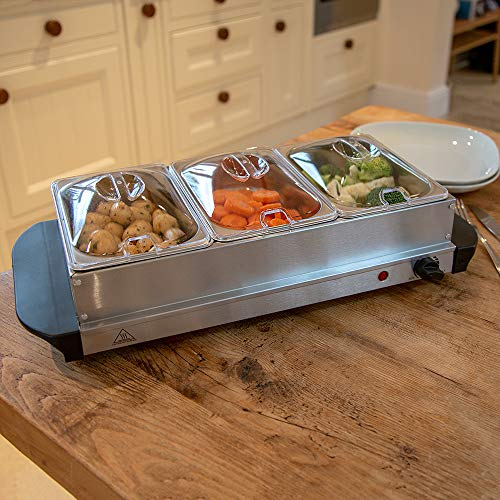 Wido 200W Stainless Steel 3 X 1.5L Buffet Server Food Warmer Hot Plate 4.5L Tray