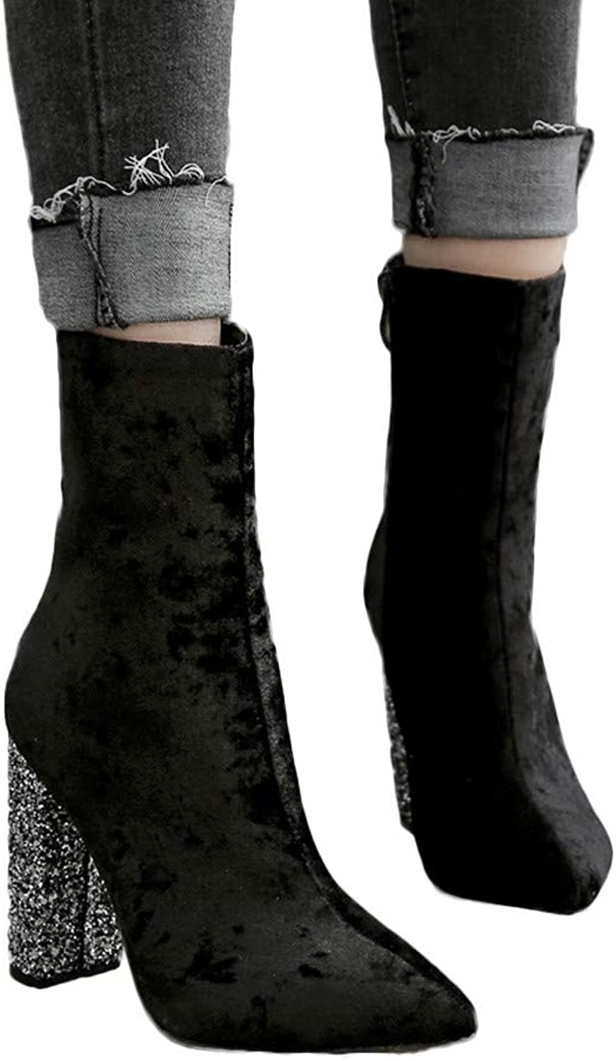 Women's Fashion Business Work High Heels, Esharing Shiny Thick heel shoes Pointed Toe Zipper Martin Boots