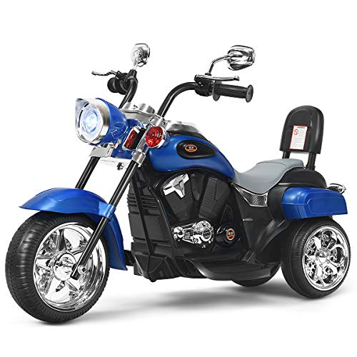 Costzon Kids Ride on Chopper Motorcycle, 6 V Battery Powered Motorcycle Trike w/Horn, Headlight, Forward/Reverse Switch, ASTM Certification, 3 Wheel Ride on Toys for Boys Girls Gift (Blue)