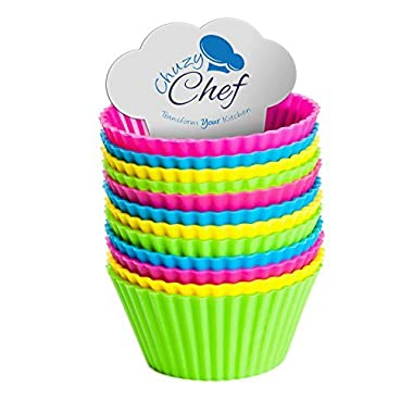 Silicone Cupcake Baking Cups Molds - Assorted Colors Silicon Cupcake Liners Set- 12 Pieces Cups For Muffin Liner by Chuzy Chef