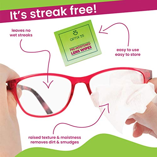 Eyeglass Cleaner Lens Wipes - 200 Pre-Moistened Individual Wrapped Eye Glasses Cleaning Wipes   Glasses Cleaner Safely Cleans Glasses, Sunglasses, Phone Screen, Electronics & Camera Lense  Streak-Free