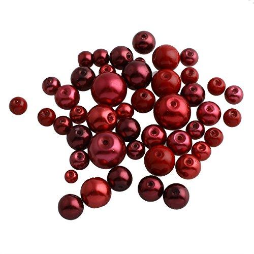 Perlin – 200 g de perlas de cristal de cera de convoluto, bolas rojas, juego de 4, 6, 8, 10 y 12 mm, juego de manualidades de perlas mixtas de perlas para enhebrar, perlas de cristal D38