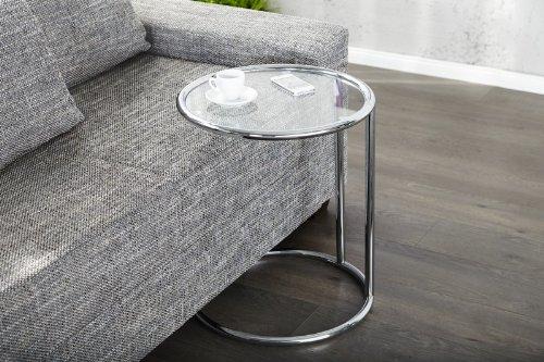 DuNord Design bijzettafel, salontafel, rond glas en chroom plaat Art Deco