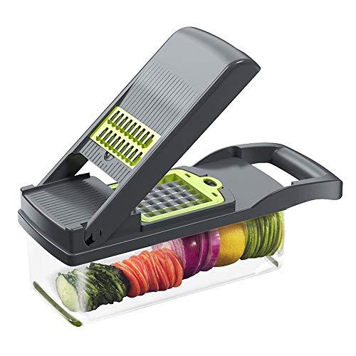 Plartree Cortador de Verduras Mandoline 13 en 1, Multifuncional Mandolina con 7 Cuchillas Diferentes para Rebanar, Rallar Cuchillo de Acero Inoxidable Fácil de Limpiar Cortar Verduras