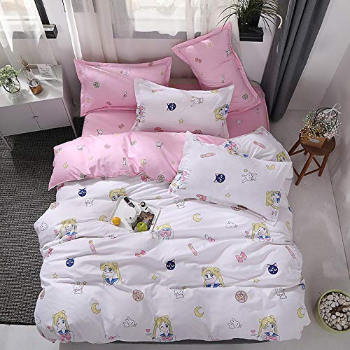 QWEASDZX Bed Set Of Four Simple Bed Linen Quilt Cover Pillowcase Washable Household Bedding 1.8m