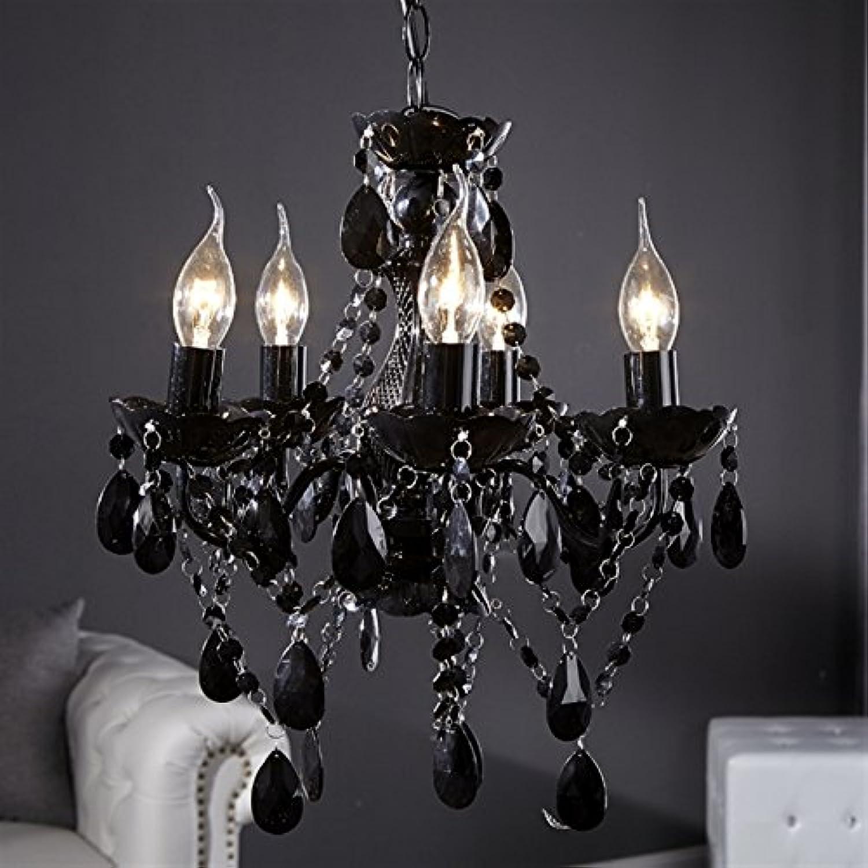 RETRO DESIGNER ACRYL KRONLEUCHTER POMP 5-armig  37cm Pendellampe Hngelampe Barock Lüster schwarz
