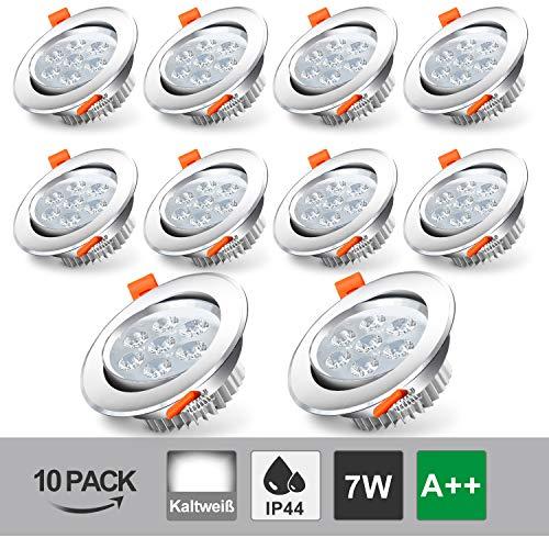 Hengda 10x LED Einbaustrahler 7W Weiß 230V 6500K LED Einbauleuchten Wohnzimmer Schwenkbar Deckenspots IP44 Einbauleuchte für Badezimmer Küche Flur