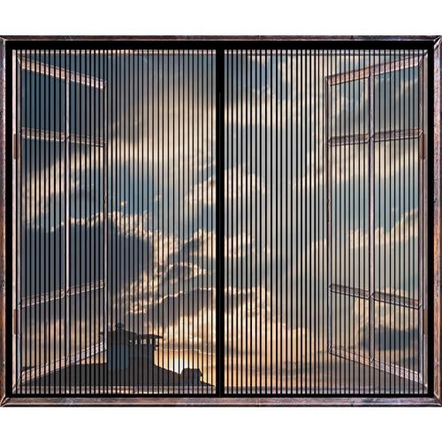COUEO Fliegengitter Fenster 70x110cm(28x43inch) Insektenschutz Moskitonetz Magnetische Adsorption Mit Klettverschluss für Alle Arten von Fenstern, Schwarz